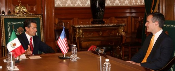 El presidente de México, Enrique Peña Nieto y el alcalde Eric Garcetti