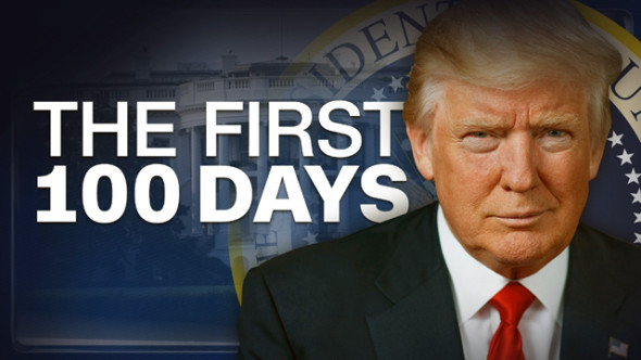United States President Donald Trump markes his 100th day in office on April 28, 2017.