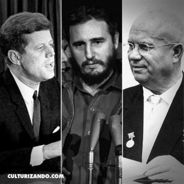 De izquierda a derecha, John F. Kennedy, Fidel Castro y Nikita Krushov.
