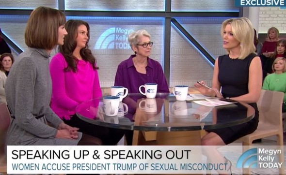 Tres de las mujeres que acusan de acoso sexual a Trump en el programa de Megyn Kelly.