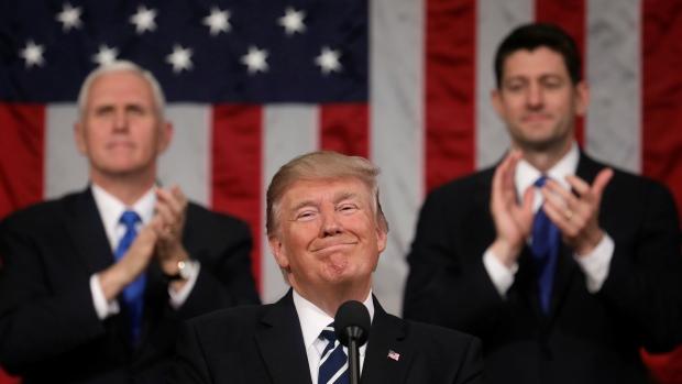 Donald Trump, presidente de Estados Unidos, durante su primer discurso del Estado de la Unión en el Capitolio, en Washington, DC Foto: Tomada de internet.