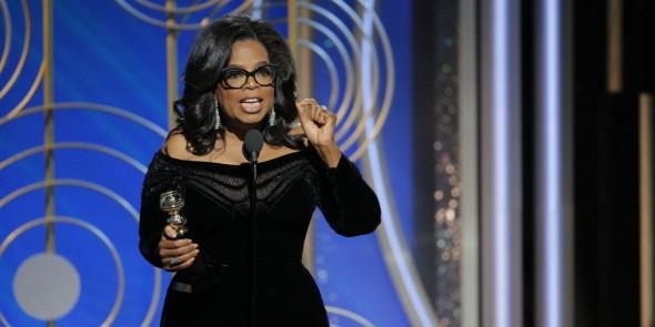 Oprah Winfrey durante la entrega de los Golden Globes. Foto: Internet.