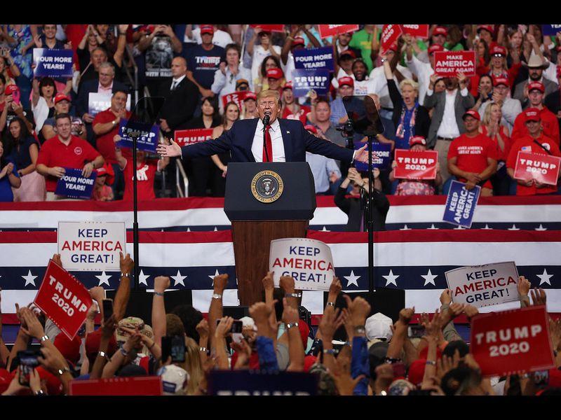 El presidente Donald Trump, durante su discurso de lanzamiento de su campaña para la reelección en 2020, en Orlando, Florida. Foto: Tomada de internet.